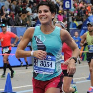 At the finish line of the New York City Marathon in 2015.